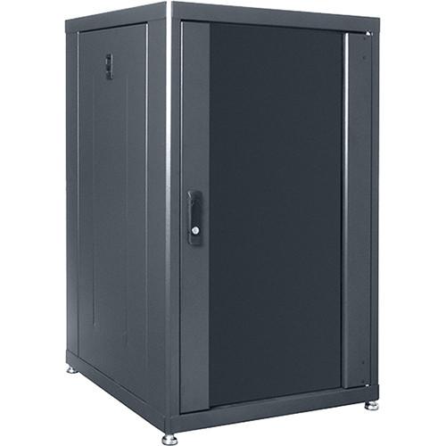 """Lowell Manufacturing Rack-Designer-18U, 24""""D, Glass Front Door and Rear Doors"""