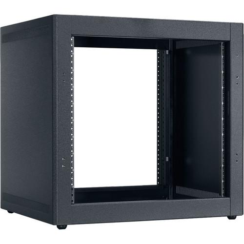"Lowell Manufacturing Rack-Desktop-10U, 18"" Deep, Front/Rear Rails (Black)"