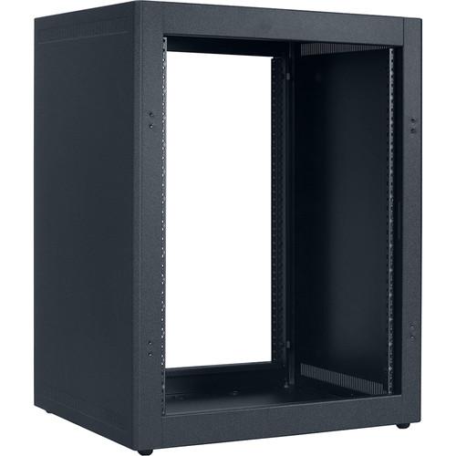 "Lowell Manufacturing Rack-Desktop-14U, 18"" Deep, Front/Rear Rails (Black)"
