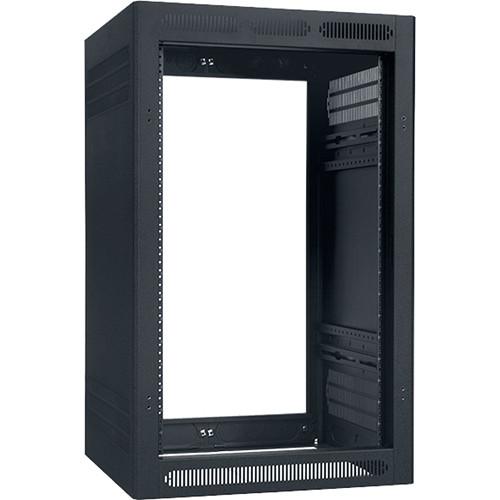 Lowell Manufacturing Rack-Enclosed-18U, 22In Deep, 1Pr Adj Rails, Less Rear Door, Black
