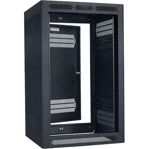 """Lowell Manufacturing Rack-Enclosed-18U, 27"""" Deep, 1-Pair Adustable Rails, Rear Door (Black)"""