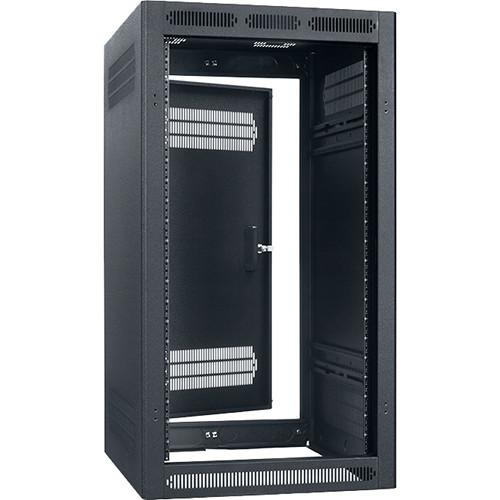"""Lowell Manufacturing Rack-Enclosed-21U, 22"""" Deep, 1-Pair Adustable Rails, Rear Door (Black)"""
