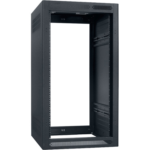"Lowell Manufacturing Rack-Enclosed-21U, 27"" Deep, 2-Pair Adustable Rails, Less Rear Door (Black)"