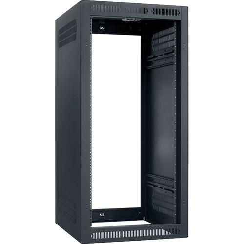 "Lowell Manufacturing Rack-Enclosed-24U, 27"" Deep, 1-Pair Adustabl Rails, Less Rear Door (Black)"