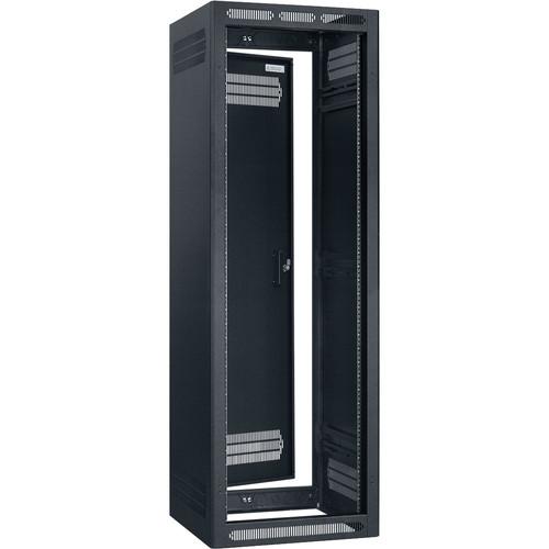 """Lowell Manufacturing Rack-Enclosed-35U, 22"""" Deep, 1-Pair Adustable Rails, Rear Door (Black)"""