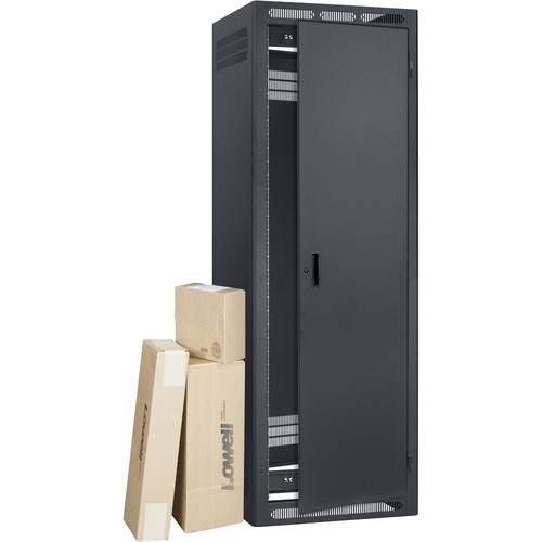 """Lowell Manufacturing LER Rack-35U, 27"""" Deep, with AV Accessory Bundle (Not Installed)"""
