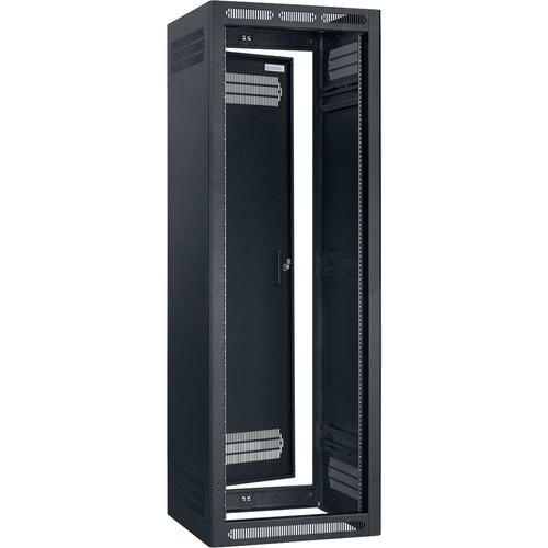 """Lowell Manufacturing Rack-Enclosed-35U, 27"""" Deep, 1-Pair Adustable Rails, Rear Door (Black)"""