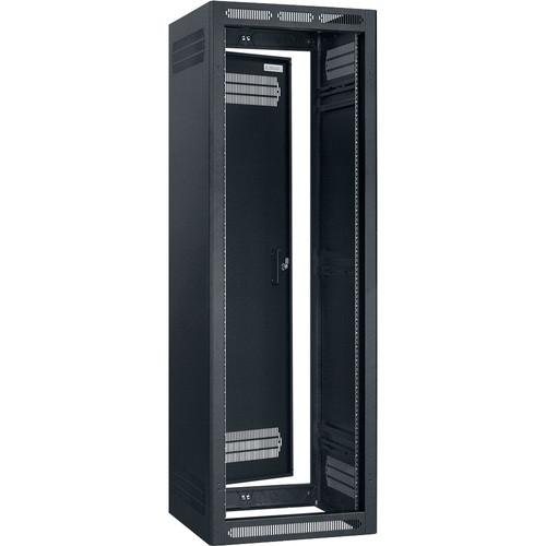 """Lowell Manufacturing Rack-Enclosed-35U, 32"""" Deep, 2-Pair Adustablj Rails, Rear Door (Black)"""