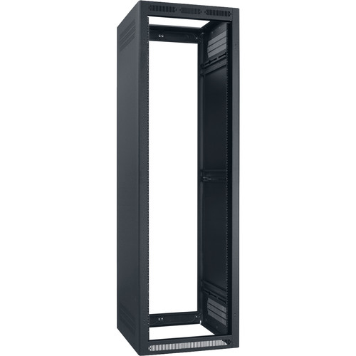 "Lowell Manufacturing Rack-Enclosed-40U, 22"" Deep, 1-Pair Adustable Rails, Less Rear Door (Black)"