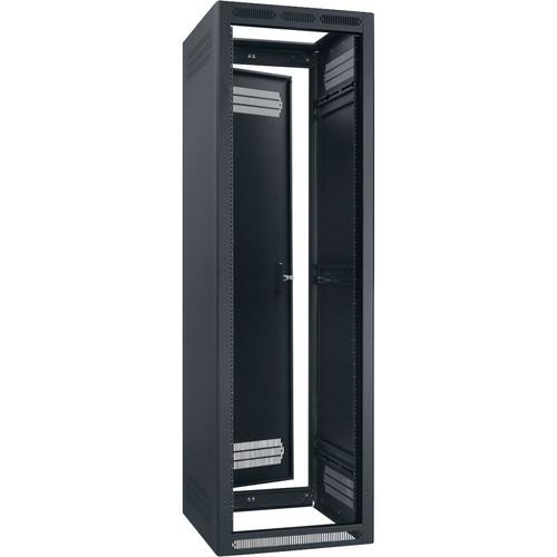 """Lowell Manufacturing Rack-Enclosed-40U, 22"""" Deep, 1-Pair Adustable Rails, Rear Door (Black)"""
