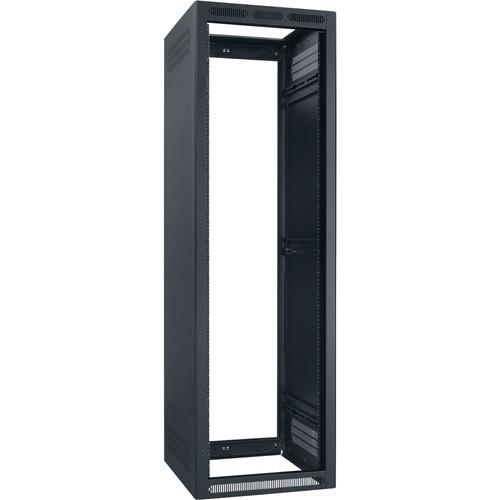 "Lowell Manufacturing Rack-Enclosed-40U, 27"" Deep, 2-Pair Adustable Rails, Less Rear Door (Black)"
