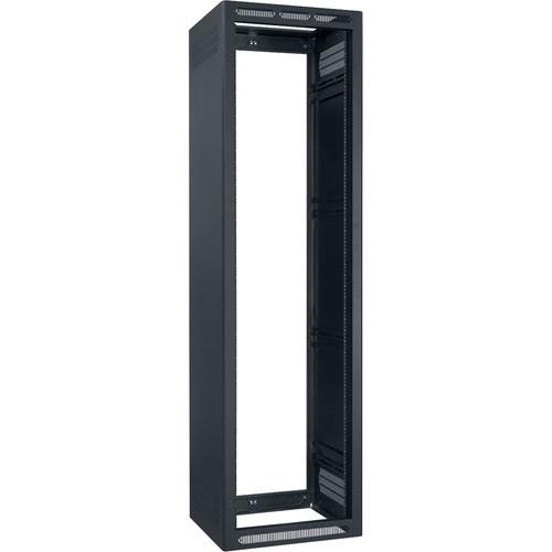 "Lowell Manufacturing Rack-Enclosed-44U, 22"" Deep, 1-Pair Adustable Rails, Less Rear Door (Black)"