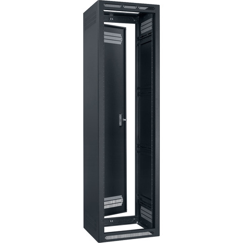 """Lowell Manufacturing Rack-Enclosed-44U, 27"""" Deep, 1-Pair Adustable Rails, Rear Door (Black)"""