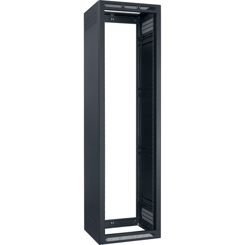 "Lowell Manufacturing Rack-Enclosed-44U, 32"" Deep, 2-Pair Adustable Rails, Less Rear Door (Black)"