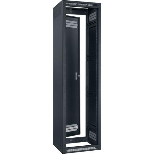 """Lowell Manufacturing Rack-Enclosed-44U, 32"""" Deep, 2-Pair Adustable Rails, Rear Door (Black)"""