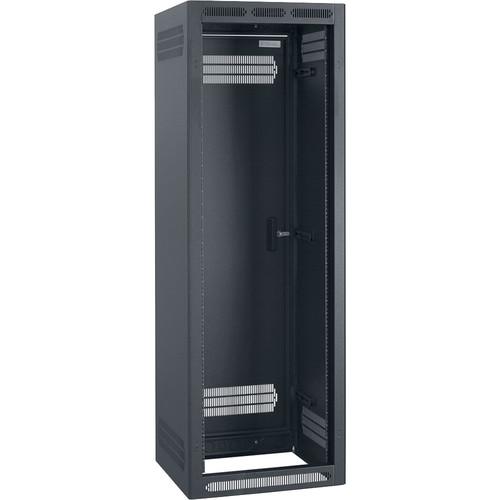 "Lowell Manufacturing Rack-Enclosed-35U, 22""Deep/1-Pair Fixed Rails, Rear Door (Black)"
