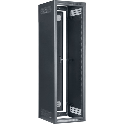 "Lowell Manufacturing Rack-Enclosed-40U, 27""Deep/1-Pair Fixed Rails, Rear Door (Black)"