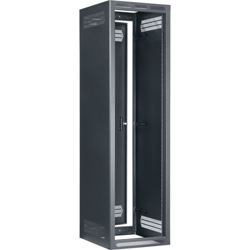 "Lowell Manufacturing Rack-Enclosed-44U, 27""Deep/1-Pair Fixed Rails, Rear Door (Black)"