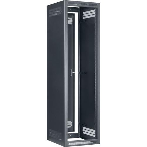 "Lowell Manufacturing Rack-Enclosed-44U, 27""Deep/1-Pair Fixed Rails, Rear Door (Black)"