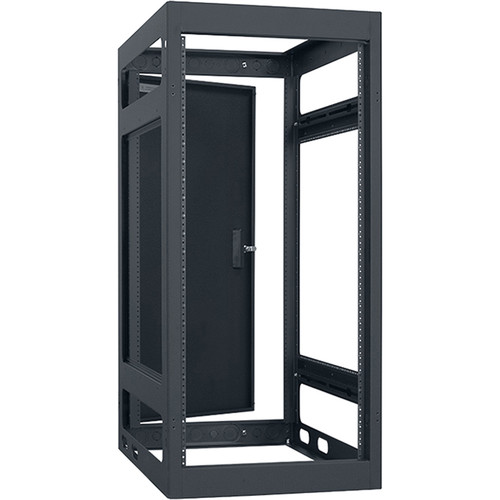 "Lowell Manufacturing Rack-Narrow-Gangable-24U, 27""Deep, Rails, Rear Door (Black)"