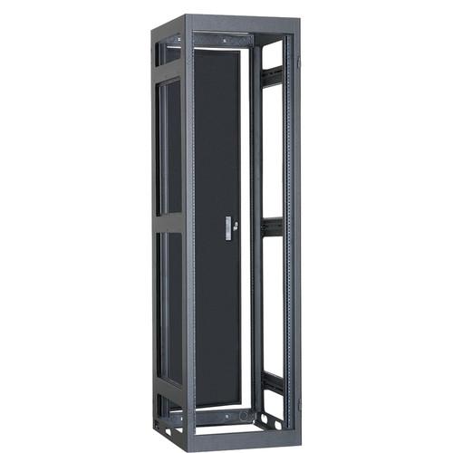 "Lowell Manufacturing Rack-Narrow-Gangable-37U, 27""Deep, Rails, Rear Door (Black)"