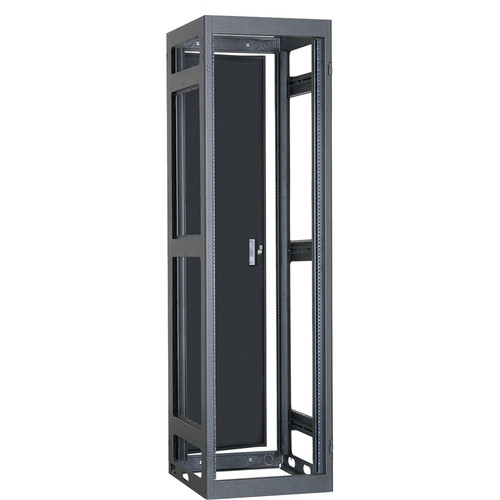 "Lowell Manufacturing Rack-Narrow-Gangable-37U, 32""Deep, Rails, Rear Door (Black)"