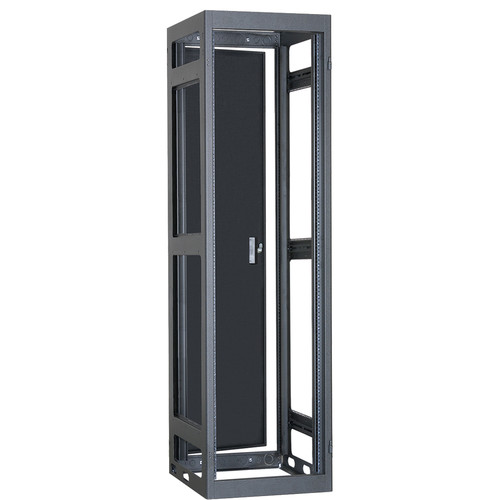 "Lowell Manufacturing Rack-Narrow-Gangable-40U, 27""Deep, Rails, Rear Door (Black)"