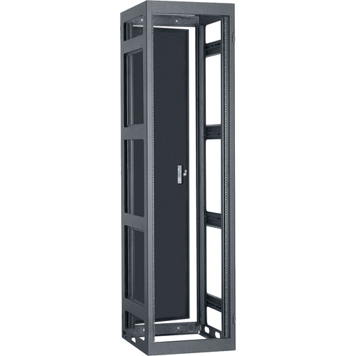 "Lowell Manufacturing Rack-Narrow-Gangable-44U, 32""Deep, Rails, Rear Door (Black)"