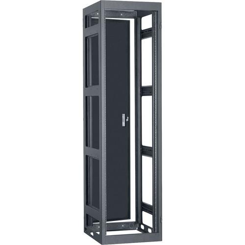 "Lowell Manufacturing Rack-Narrow-Gangable-44U, 36""Deep, 2-Pair Rails, Rear Door (Black)"
