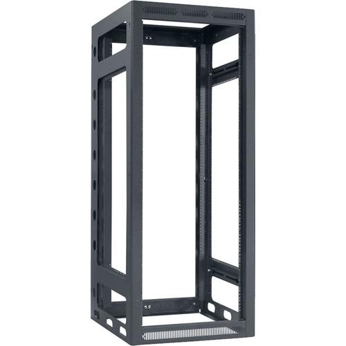 "Lowell Manufacturing Rack-Gangable-24U/27""Deep, 2-Pair Rails, Less Rear Door (Black)"
