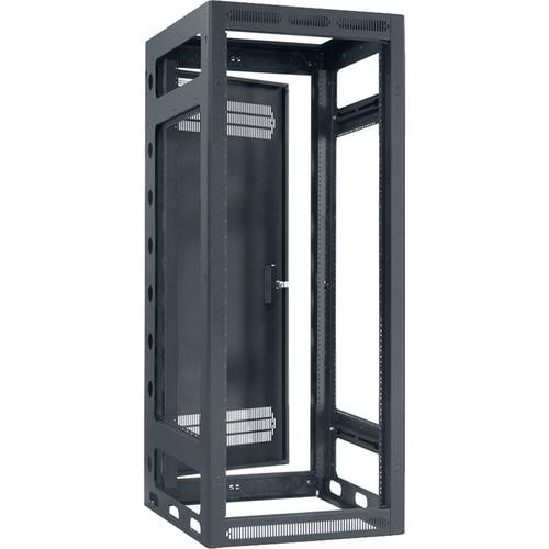 "Lowell Manufacturing Rack-Gangable-24U/27""Deep,2-Pair Rails, Rear Door (Black)"