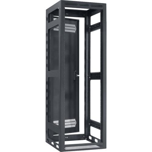 "Lowell Manufacturing Rack-Gangable-35U/27""Deep, 2-Pair Rails, Rear Door (Black)"