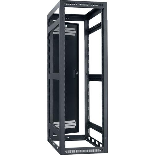 "Lowell Manufacturing Rack-Gangable-35U/32""Deep, 2-Pair Rails, Rear Door (Black)"