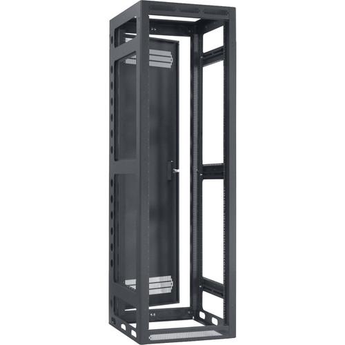 "Lowell Manufacturing Rack-Gangable-40U/21""Deep, 1-Pair Rails, Rear Door (Black)"