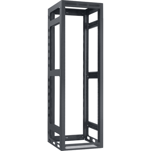 "Lowell Manufacturing Rack-Gangable-40U/27""Deep, 2-Pair Rails, Less Rear Door (Black)"