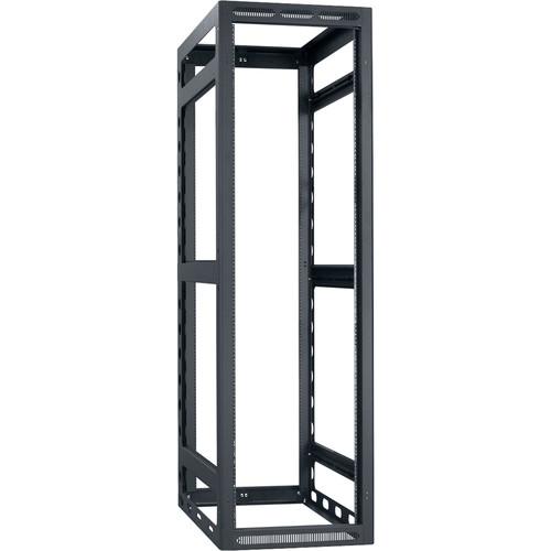 "Lowell Manufacturing Rack-Gangable-40U/32""Deep, 2-Pair Rails, Less Rear Door (Black)"