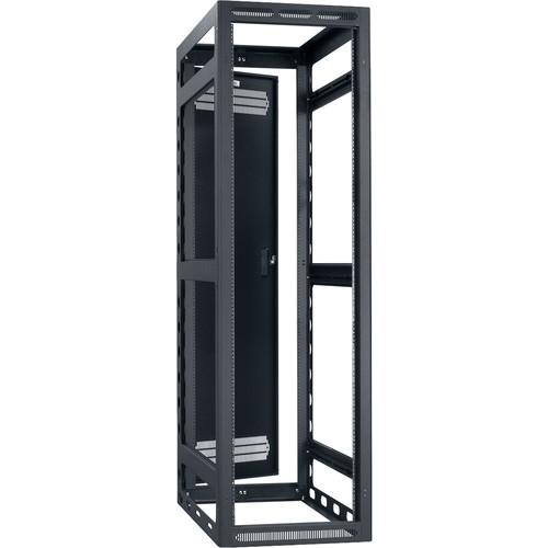"Lowell Manufacturing Rack-Gangable-40U/36""Deep, 2-Pair Rails, Rear Door (Black)"