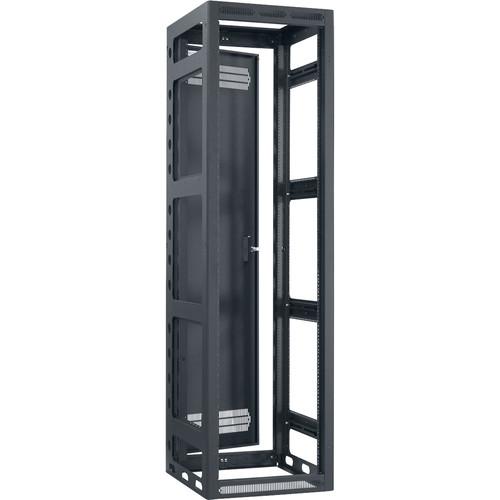 "Lowell Manufacturing Rack-Gangable-44U/22""Deep, 1-Pair Rails, Rear Door (Black)"