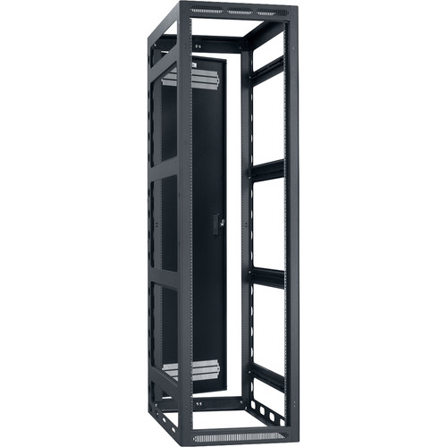 "Lowell Manufacturing Rack-Gangable-44U/36""Deep, 2-Pair Rails, Rear Door (Black)"