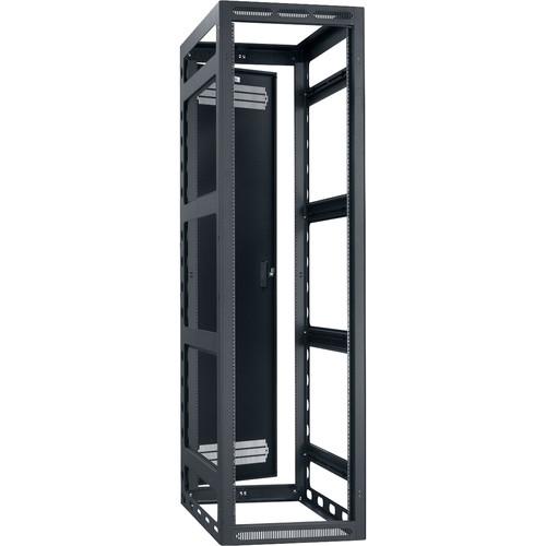 "Lowell Manufacturing Rack-Gangable-44U/42""Deep, 2-Pair Rails, Rear Door (Black)"