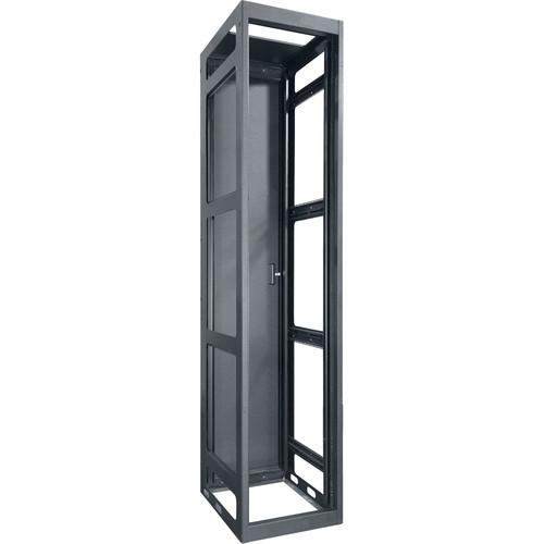 "Lowell Manufacturing Rack-Gangable-Tall-54U, 36""Deep, Rails, Rear Door (Black)"