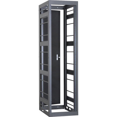 "Lowell Manufacturing Rack-Gangable-Video-44U, 32""Deep, Rails, Rear Door (Black)"