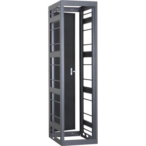 "Lowell Manufacturing Rack-Gangable-Video-44U, 36""Deep, Rails, Rear Door (Black)"