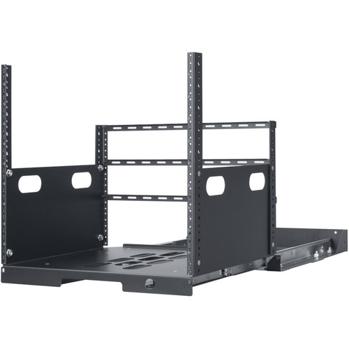 """Lowell Manufacturing Pull-Out Rack with 2-Slides, 10U, 19"""" Deep (Black)"""