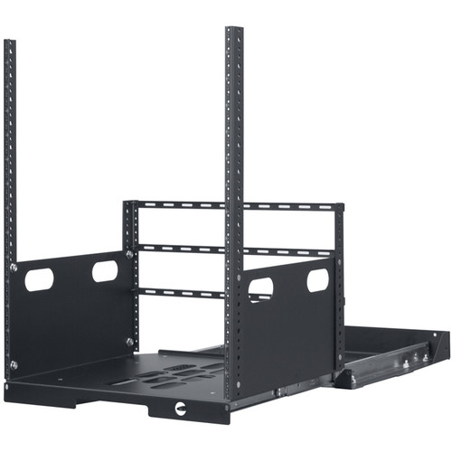 """Lowell Manufacturing Pull-Out Rack with 2-Slides, 14U, 19"""" Deep (Black)"""