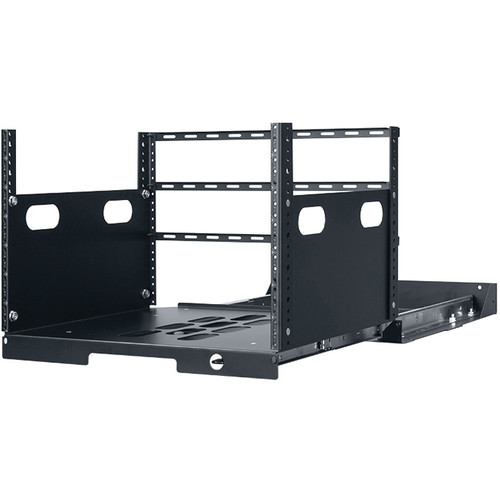 """Lowell Manufacturing Pull-Out Rack with 2-Slides, 7U, 19"""" Deep (Black)"""