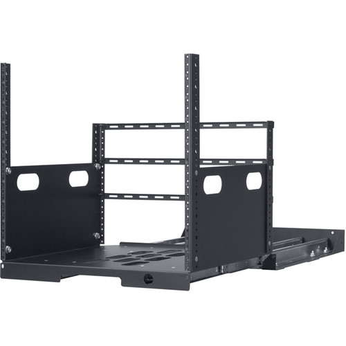 """Lowell Manufacturing Pull-Out Rack with 4-Slides, 10U, 19"""" Deep (Black)"""
