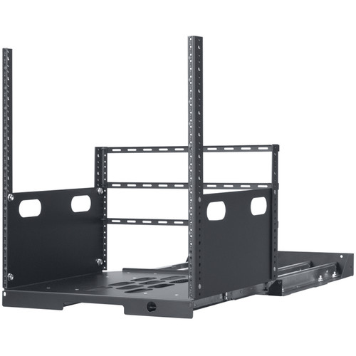 """Lowell Manufacturing Pull-Out Rack with 4-Slides, 12U, 19"""" Deep (Black)"""
