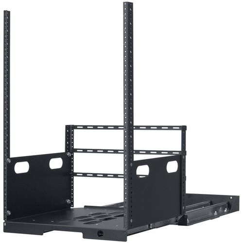 """Lowell Manufacturing Pull-Out Rack with 4-Slides, 16U, 19"""" Deep (Black)"""