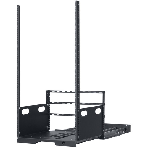 """Lowell Manufacturing Pull-Out Rack with 4-Slides, 21U, 19"""" Deep (Black)"""